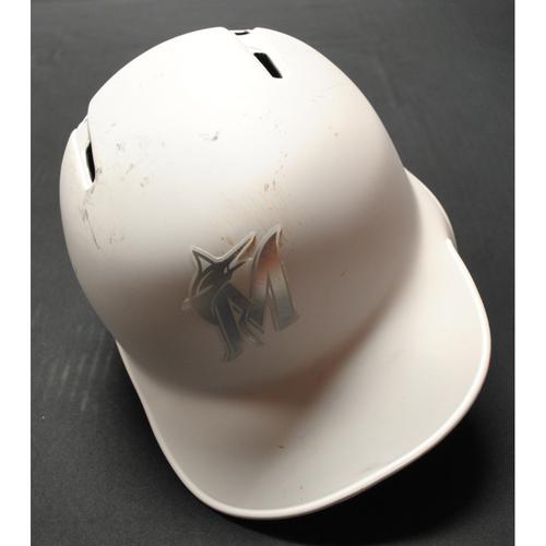 """Photo of Garrett """"COOPALOOP"""" Cooper Miami Marlins Game-Used 2019 Players' Weekend Helmet"""