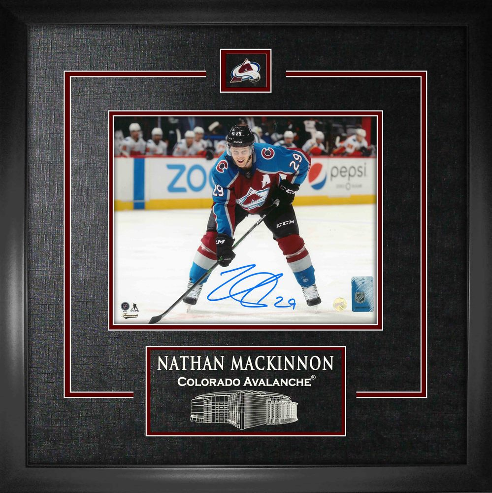 Nathan MacKinnon Signed 8x10 Etched Mat Avalanche Bent Over