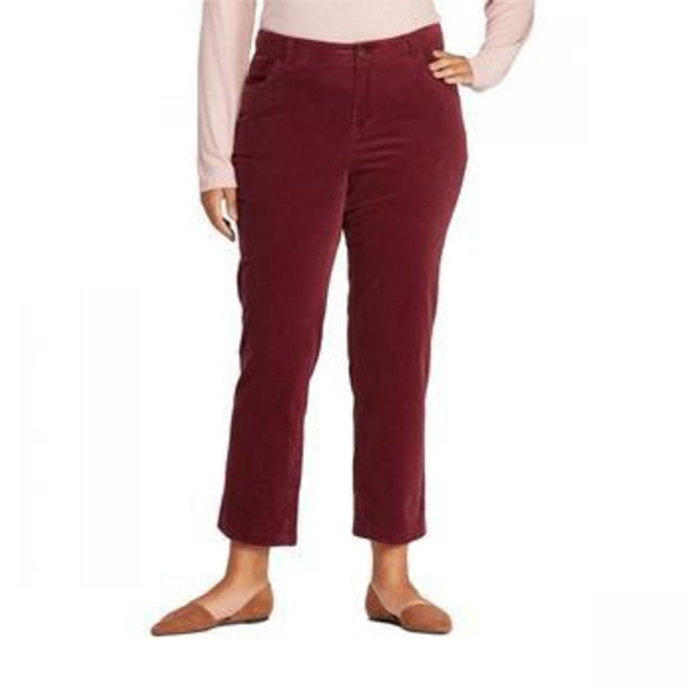 Photo of Women's Plus Size Skinny Straight Fit Cropped Corduroy Pants - Ava & Viv