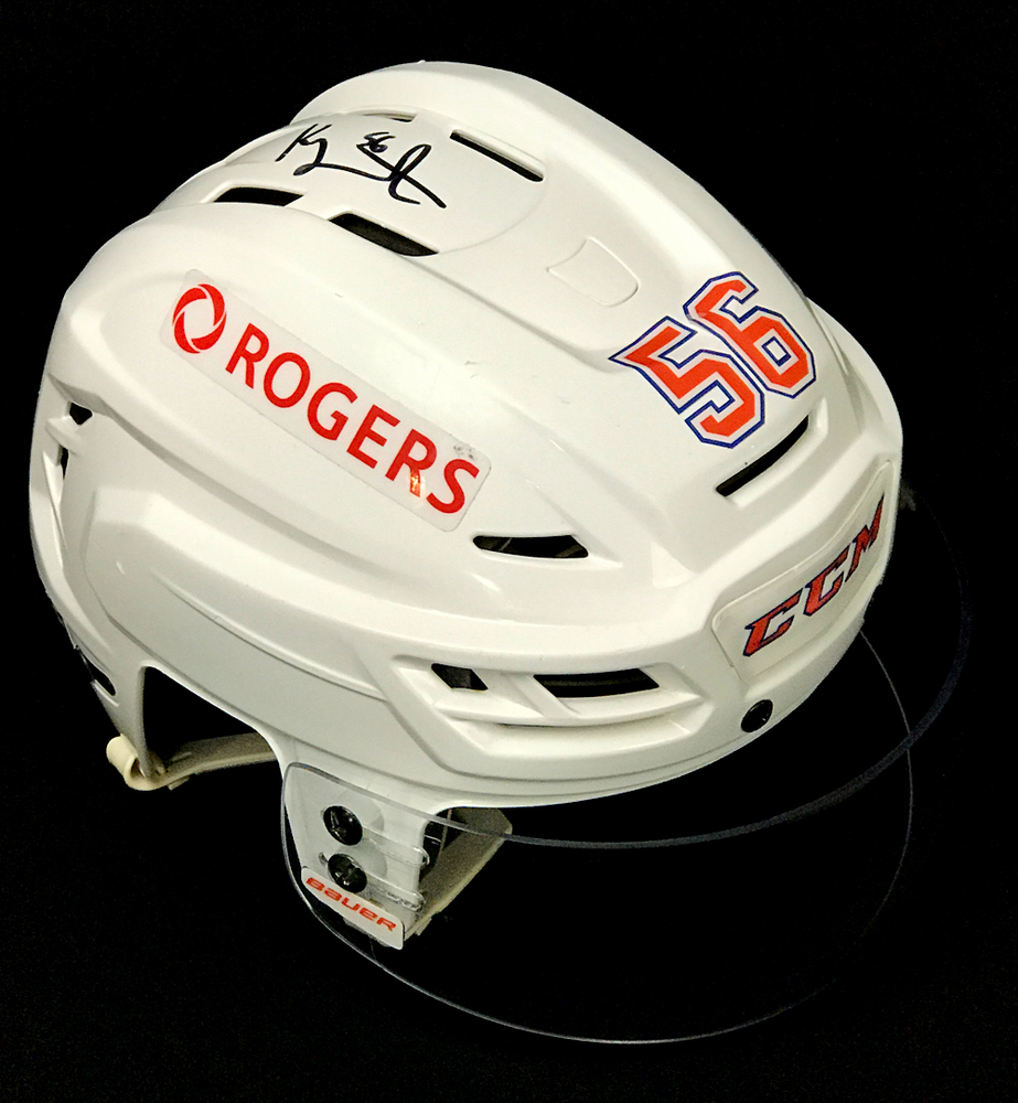 Kailer Yamamoto #56 - Autographed 2020-21 Edmonton Oilers Game-Worn White CCM Helmet With Reverse Retro Jersey Decals