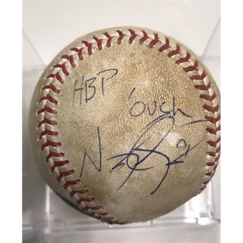 Photo of Autographed Game-Used Baseball: Nicholas Castellanos Hit By Pitch