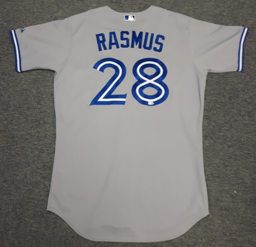 Photo of Authenticated Game Used Jersey - #28 Colby Rasmus (April 12, 2014). Rasmus went 1-for-5 with 1 HR, 1 Run and 1 RBI. Size 46