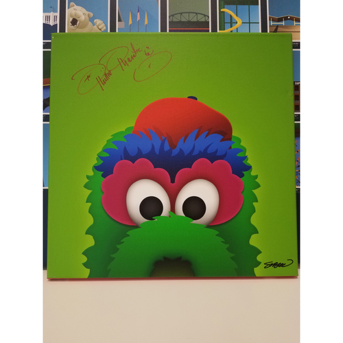 Photo of Philadelphia Phillies Autographed Minimalist Phillie Phanatic Mascot Canvas by S. Preston