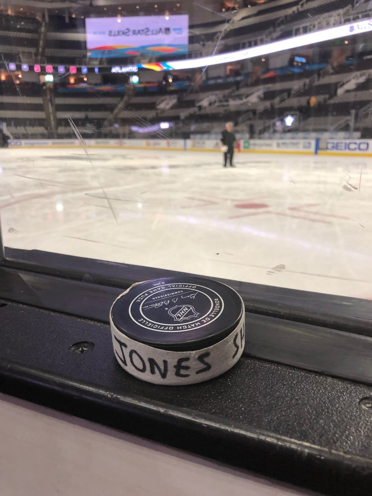 Seth Jones Columbus Blue Jackets 2019 NHL Skills Competition Hardest Shot Event-Used Puck - Second Shot