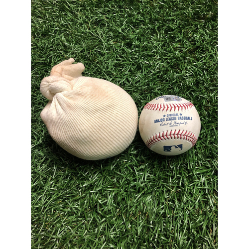 Photo of Game Used Baseball and Rosin Bag: Brendan McKay (2nd Career Start) - Aaron Judge foul ball off Brendan McKay - July 5, 2019 v NYY