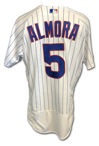 Photo of Albert Almora Game-Used Jersey -- 2 for 3, Run Scored -- Pediatric Cancer Awareness Patch -- 9/13/19 -- Pirates vs. Cubs
