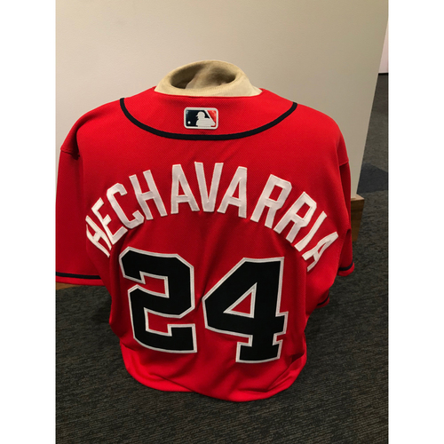 Photo of Adeiny Hechavarria 2019 Atlanta Braves Game-Used Los Bravos Day Jersey