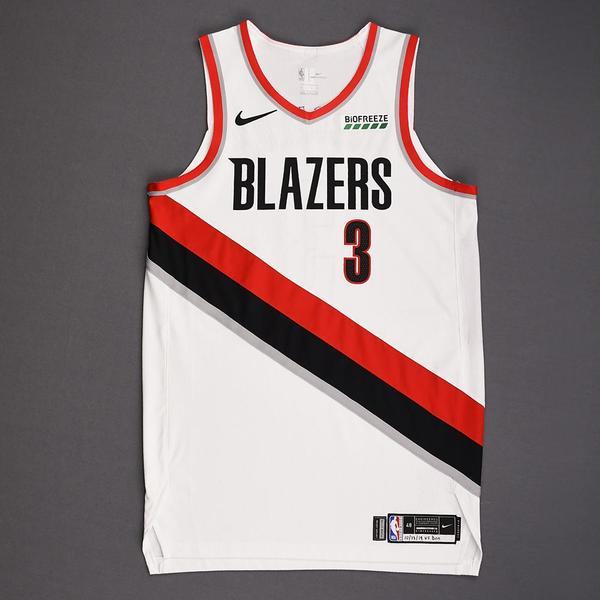 Image of CJ McCollum - Portland Trail Blazers - Kia NBA Tip-Off 2019 - Game-Worn Association Edition Jersey