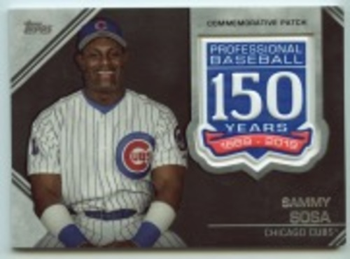 Photo of 2019 Topps Update 150th Anniversary Manufactured Patches #AMPSS Sammy Sosa