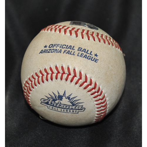 Photo of Game-Used Baseball: 2019 Arizona Fall League - Pitcher: Zach Neff (MIN), Batter: Kyle Isbel (KC) - Double - Bot 8 - 10/26/2019