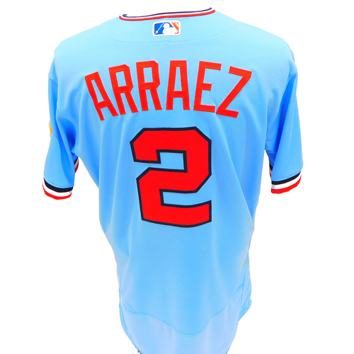Photo of Minnesota Twins: 2021 Game-Used Jersey - Luis Arraez - Powder Blue Jersey worn on 4/24/2021 and 7/7/2021 - 2-4 with a Double on 7/7/201