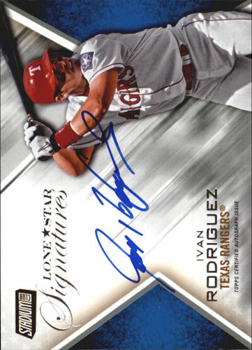 Photo of 2014 Stadium Club Lone Star Signatures #LSSIR Ivan Rodriguez EXCH