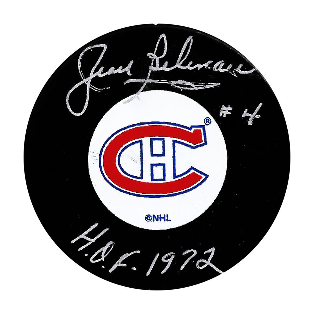 Jean Beliveau Autographed Montreal Canadiens Puck w/HOF 1972 Inscription