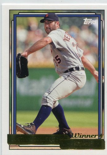 Photo of 2017 Topps Archives Gold Winner #241 Justin Verlander -- Astros ALCS roster