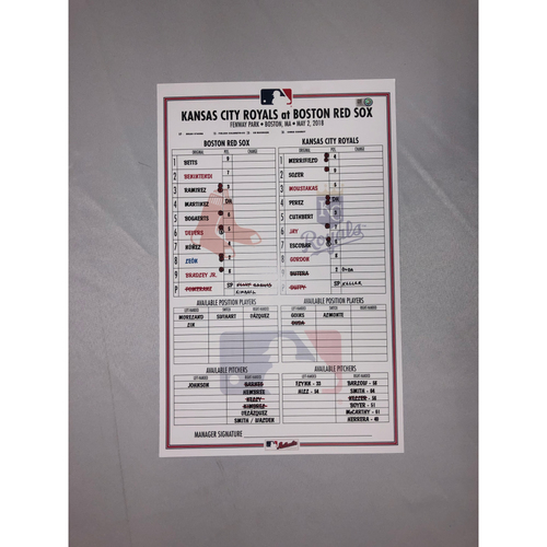 Photo of Royals vs Red Sox May 2, 2018 Game-Used Lineup Card - Red Sox Win 5 to 4 - Mookie Betts hits Three Home Runs