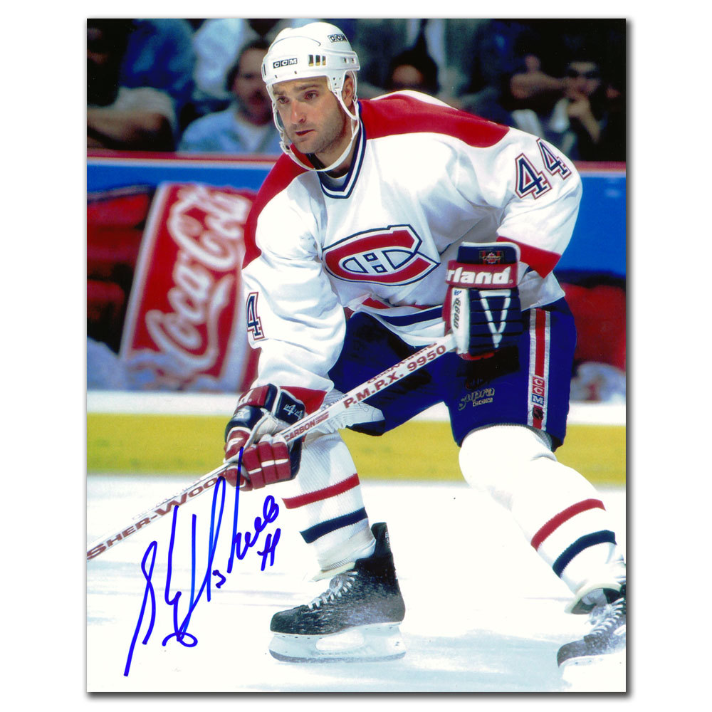 Stephane Richer Montreal Canadiens WHITE JERSEY Autographed 8x10