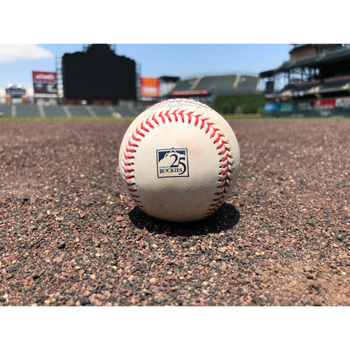 Photo of Colorado Rockies Game-Used Baseball - Pitcher: Scott Oberg, Batter: John Ryan Murphy - Arenado to Iannetta, Souza Jr. out at home - July 12, 2018