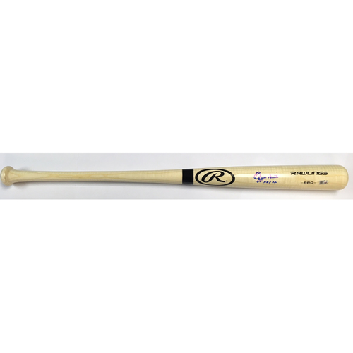 "Photo of Ozzie Smith Autographed ""HOF 02"" Blonde Rawlings Bat"