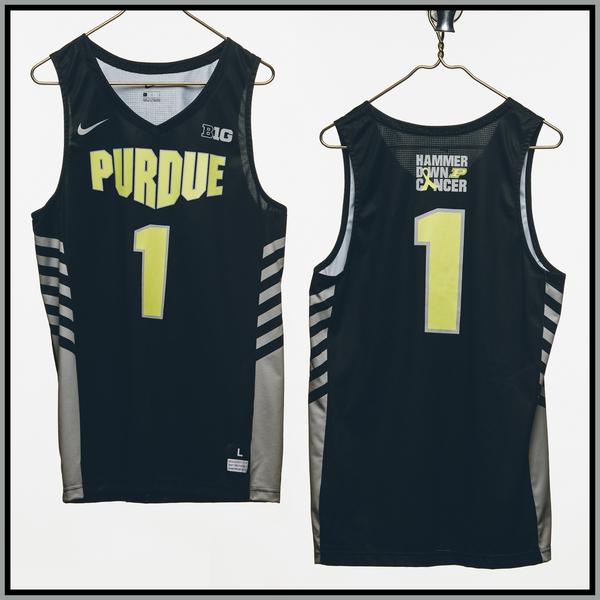 Photo of Purdue Basketball #1 Hammer Down Cancer Jersey, Worn By Aaron Wheeler
