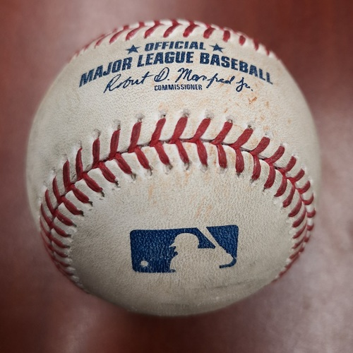 Photo of Authenticated Game Used Baseball - March 25, 2019 in Montreal vs Brewers: Mike Moustakas Doubles against Tim Mayza (T4)