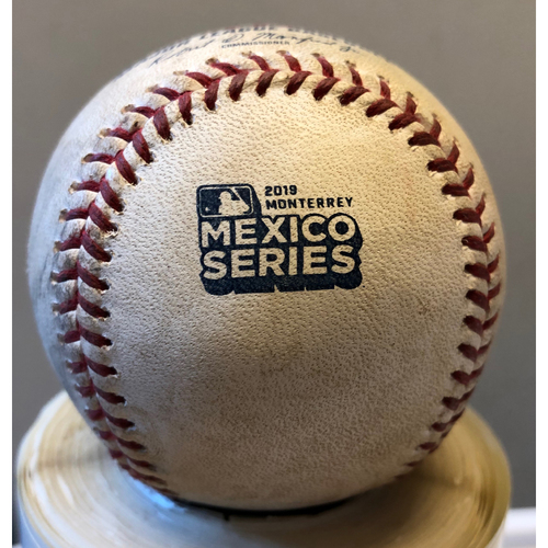 Photo of 2019 Mexico Series Game Used Baseball- George Springer Single, Houston Astros at Los Angeles Angels - 5/5/2019