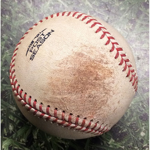 Photo of Game-Used Baseball NLCS Game 2 LAD@MIL 10/13/18 - Hyun-Jin Ryu - Travis Shaw: Ball