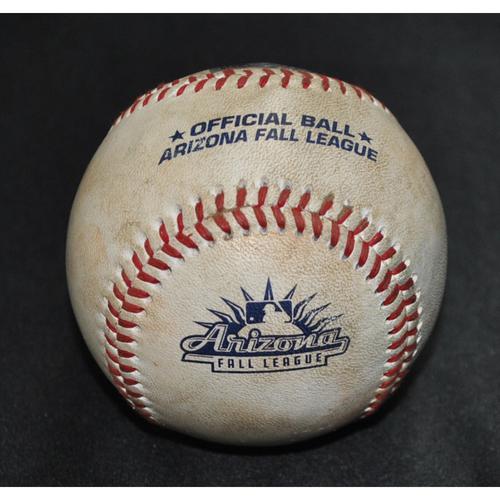 Photo of Game-Used Baseball: 2019 Arizona Fall League - Pitcher: Jesus Zambrano (OAK), Batter: Jacob Heyward (SFG) - Swinging Strikeout - Top 9 - 10/18/2019