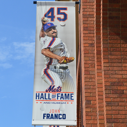 Photo of John Franco #45 - Mets Hall of Fame Citi Field Banner - 2019 Season