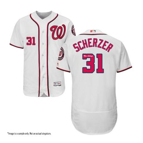 Photo of Max Scherzer Autographed Authentic White Nationals Jersey