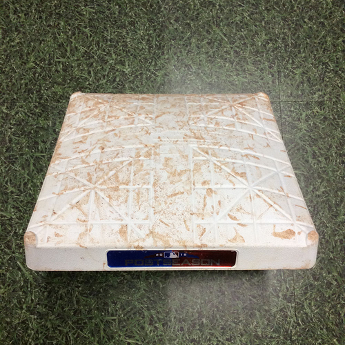 Photo of Game-Used 2nd Base COL@MIL NLDS Game 1 (10/04/18) & Game 2 (10/05/18) - Innings 1-3 Each Game - Christian Yelich 1st Career Postseason Hit/HR (2-Run HR, 3rd Inning, 10/04/18)