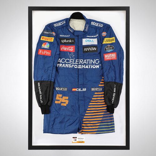 Photo of Carlos Sainz 2020 Framed Signed Race-worn Race Suit - Imola GP