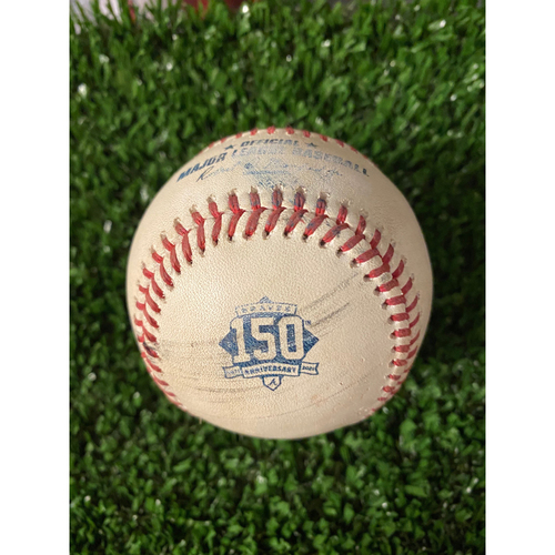 Photo of Home Opener Game Used Ball: 4/9/21 - Batter: Cristian Pache, Pitcher: David Hale, Ball, Strike, Foul