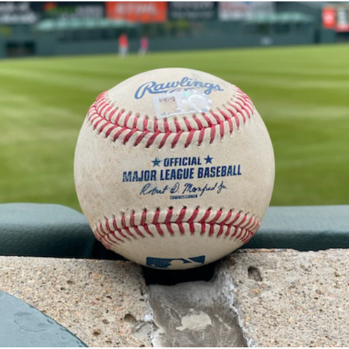 Photo of Game-Used Baseball - Pitcher: Chi Chi Gonzalez, Batter: Tommy La Stella (RBI Single to Charlie Blackmon) - September 7, 2021