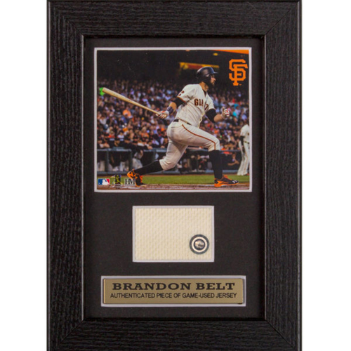 Photo of San Francisco Giants - Brandon Belt Game-Used Jersey Swatch Frame