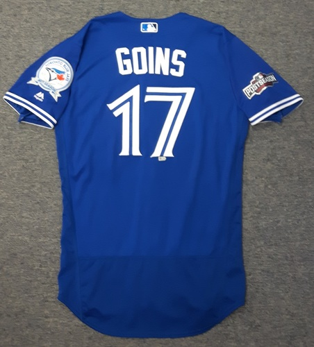 Photo of Authenticated Game Used 2016 Postseason Jersey - #17 Ryan Goins (Wild Card Game and ALDS Game 3). Size 42