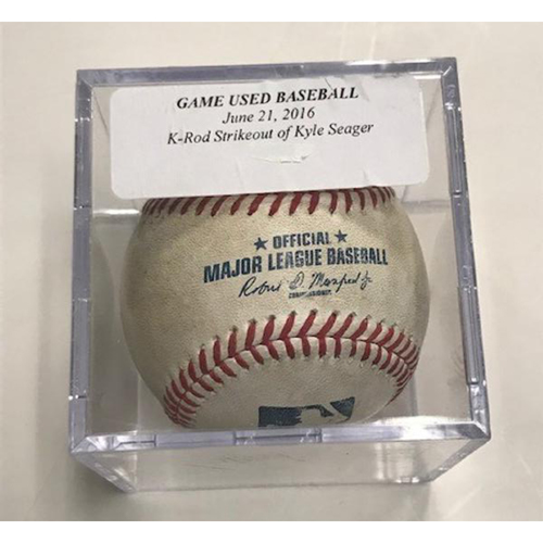 Photo of Game-Used Baseball: Francisco Rodriguez Strikeout of Kyle Seager