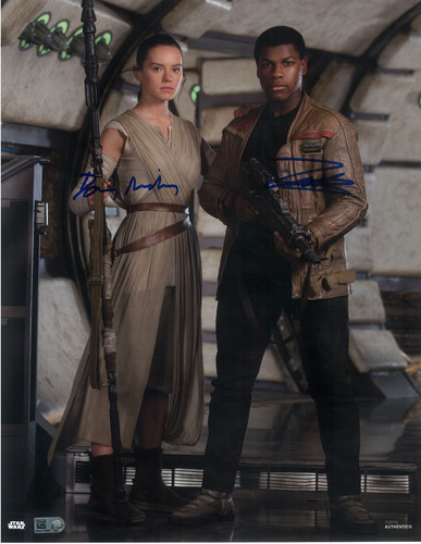 Daisy Ridley as Rey and John Boyega 11x14 Dual Autographed in Blue Ink Photo