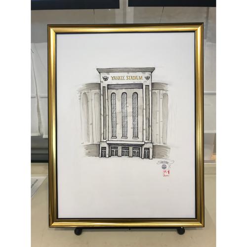 Photo of Framed Original New York Yankees Yankee Stadium Illustrated Sketch by S. Preston