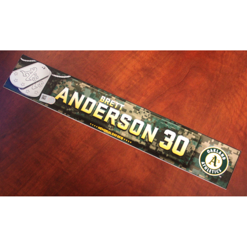 Photo of Brett Anderson 2018 Team Issued Memorial Day Locker Nameplate