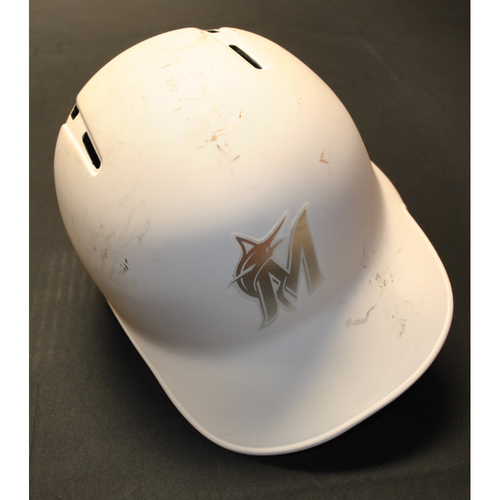 "Photo of Harold ""EL PRI"" Ramirez Miami Marlins Game-Used 2019 Players' Weekend Helmet"