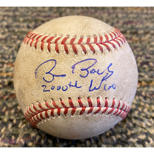 "Photo of 2019 Game Used & Autographed Baseball - Signed by #15 Bruce Bochy & Inscribed"" 2,000th Win"" - Used on 9/18 San Francisco Giants @ Boston Red Sox - Bruce Bochy Career Win 2,000"