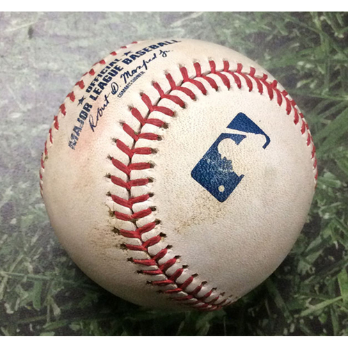 Photo of Game-Used Baseball ARI@MIL 08/23/19 - Merrill Kelly - Mike Moustakas: 2-Run Double