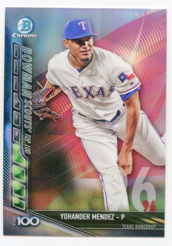 Photo of 2017 Bowman Chrome Scouts Top 100 Refractors #BTP96 Yohander Mendez