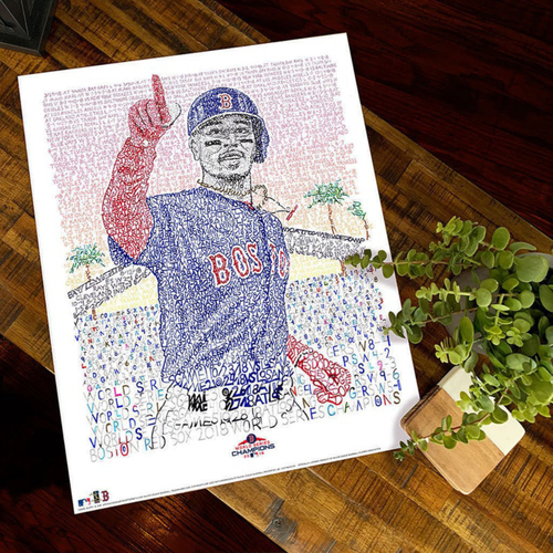 Photo of 2018 Mookie Betts World Series Art Print by Dan Duffy, Art of Words - Boston Red Sox