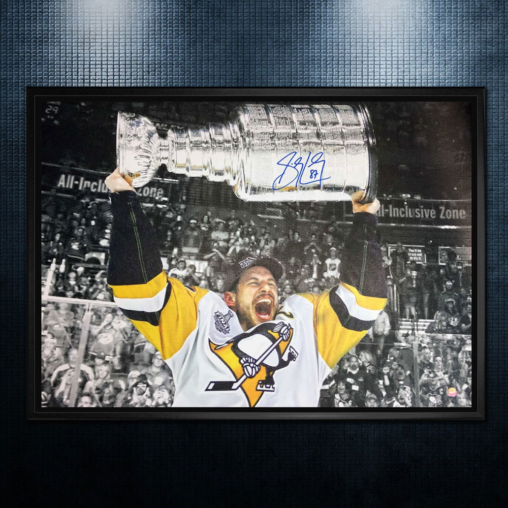 Sidney Crosby Pittsburgh Penguins Autographed 2017 Stanley Cup 20x29 Canvas Frame