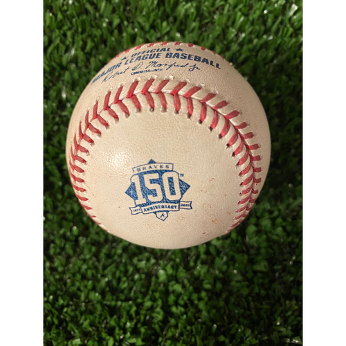 Photo of Home Opener Game Used Ball: 4/9/21 - Batter: Marcell Ozuna, Pitcher: David Hale, Strike, Ball, Foul