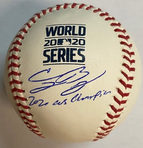 "Photo of Cody Bellinger Autographed ""2020 WS Champs"" 2020 World Series Logo Baseball"