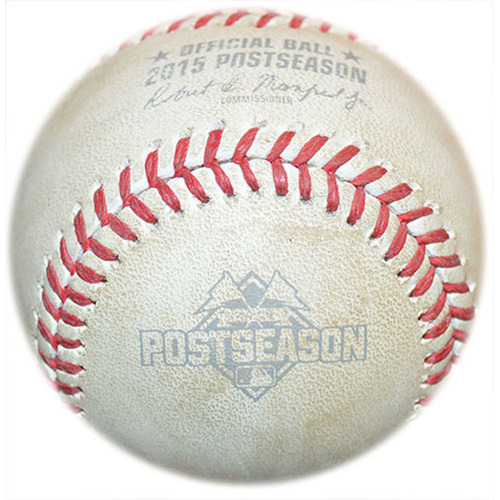 Photo of Game Used Baseball - NLCS Game 4 - Mets Defeat Cubs, Win NL Pennant to Advance to World Series - 10/21/15