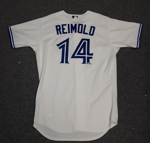 Photo of Authenticated Game Used Jersey - #14 Nolan Reimold (August 25, 2014). Reimold was a Pinch Runner. Size 48