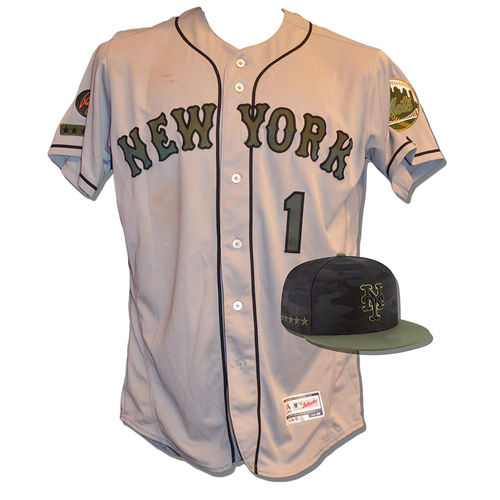 Photo of Amed Rosario #1 - Game Used Road Grey Memorial Day Jersey and Hat - Mets vs. Braves - 5/28/18
